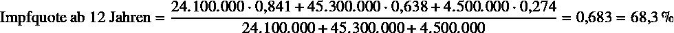 \begin{equation*} \text{Impfquote ab 12 Jahren} = \frac{\num{24100000} \cdot \num{0.841} + \num{45300000} \cdot \num{0.638} + \num{4500000} \cdot \num{0.274}}{\num{24100000} + \num{45300000} + \num{4500000}} = \num{0.683} = \SI{68.3}{\percent} \end{equation*}