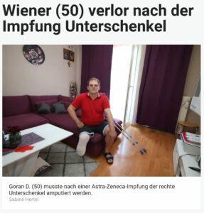 Wiener (50) musste nach einer Astra-Zeneca-Impfung der rechte Unterschenkel amputiert werden